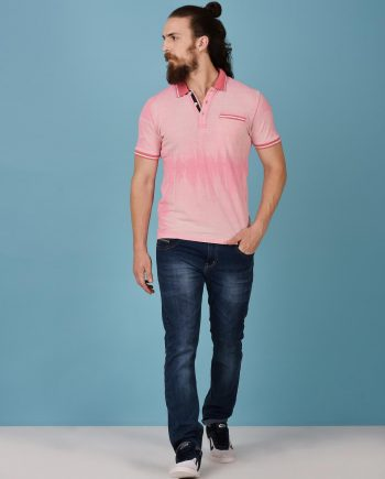 Pink Faded Polo for Men
